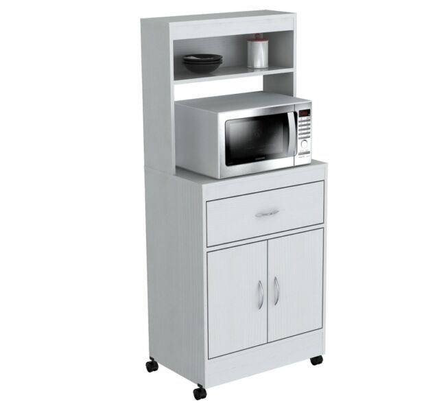Storage for Kitchen Cabinet Bins White Microwave Cart Stand ...