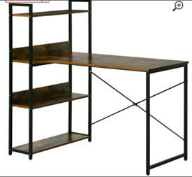 A new stylish dark wood and mettle desk with storage shelve .