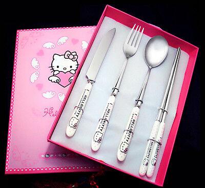 Hello Kitty Doraemon Dinner Fork Spoon Knife Chopsticks Ceramic Stainless Steel