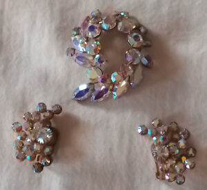 AURORA BOREALIS  CRYSTAL  BROACH AND EARRINGS