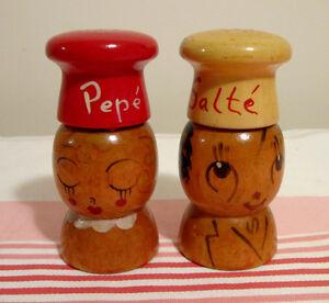 Sel et poivre vintage Salté Pepé en bois