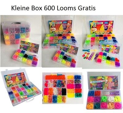 Top Angebot Loom Bands XXL 12000 oder 4200 Kl.BOX Gratis bunte Gummibänder Set