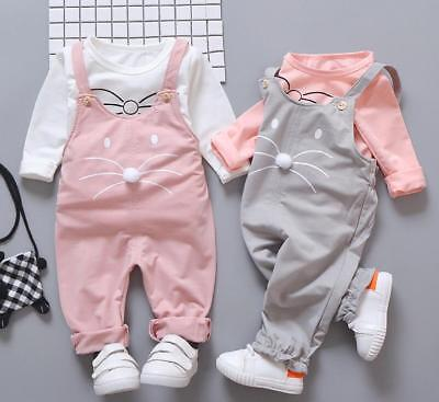 2pcs baby kids girls clothes daily spring fall outfits top+rompers overall CAT - Guy Outfits