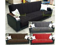 **14-DAY MONEY BACK GUARANTEE!** Talbot Luxury Turkish Sofabed in Black Brown Grey and Red SAME DAY!