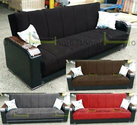 **7-DAY MONEY BACK GUARANTEE!** Talbot Luxury Sofabed with Wooden Arms in Black or Brown -BRAND NEW!