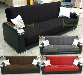 **7-DAY MONEY BACK GUARANTEE!*Talbot Luxury Fabric Sofabed with Extrafirm Padding in 4 colours!