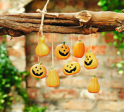 Deko Hänger Kürbis 8er Set, Halloween, Herbstdekoration, Pumpkin, Kürbisse
