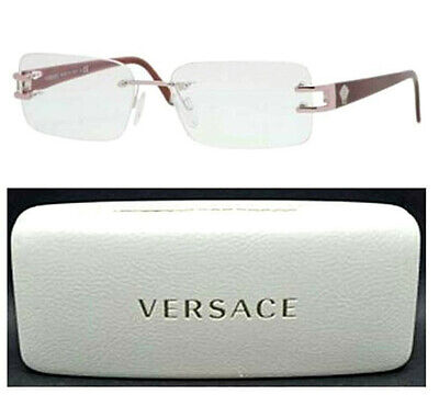 VERSACE VE1170 1000 53-15-135 Eyeglasses Rimless with Glass Case.