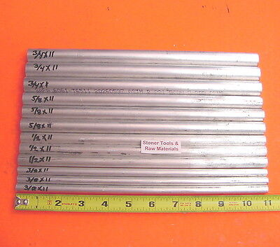 12 Piece 6061 Aluminum Round Solid Rod Assortment 38 12 58 34 T6 3.4