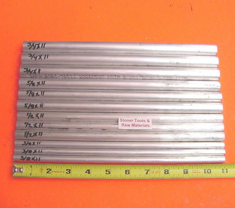 "12 Piece 6061 ALUMINUM ROUND SOLID ROD ASSORTMENT 3/8"", 1/2"", 5/8"", 3/4"" T6 #3.4"