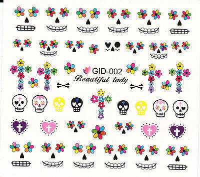 Nail Art Water Decals Glow in the Dark Halloween Skull Hearts Flowers GID002 - Glow In The Dark Halloween Nail Art