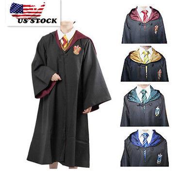 Kids Unisex Houses Wizarding Hogwarts Wizard Witch Robe Cloak Cape Costume O76 - Wizard Robe