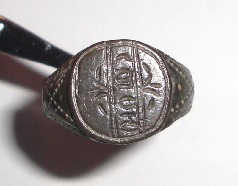 Ancient Byzantine Empire, Bronze Intaglio Signet Ring