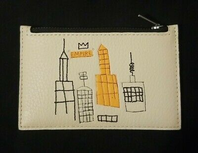Coach x Basquiat Men's Pebble Leather Zip Card Case - ivory multi - brand new