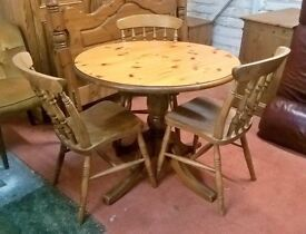 *FREE DELIVERY* Solid Pine Round Dining Table & Three Chairs ~ Country Farmhouse ~ Shabby Chic (oak)