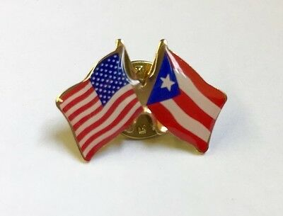 USA and PUERTO RICO Crossed Friendship Flag Lapel Pin **MADE IN USA**
