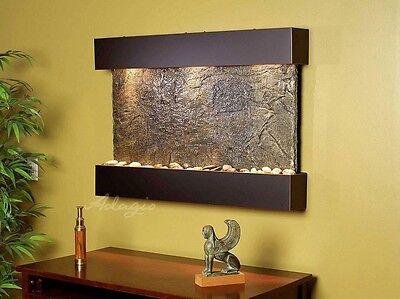 Adagio Indoor Wall Water Fountain-Reflection Creek-Green Slate/Blackened Copper