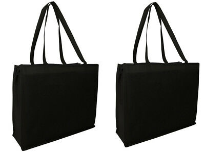 Qty 2 Eco Friendly Reusable Grocery Bag Shopping Beach Tote Bags Large w/ Zipper