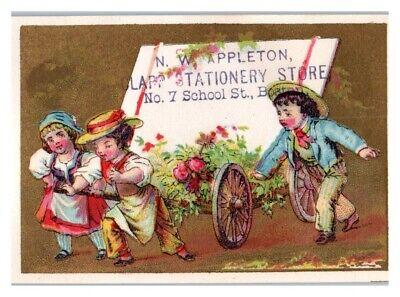 Kids Wheel Sign N.W. Appleton Clapp Stationary Store Boston Victorian Trade Card