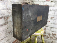 Vintage wooden Dunlop box, suitcase style, table, industrial