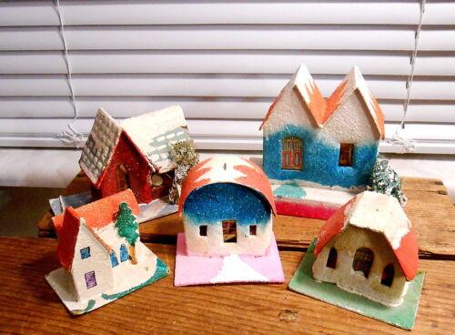 Set of  5 Vintage Japan Christmas Village Houses - Putz