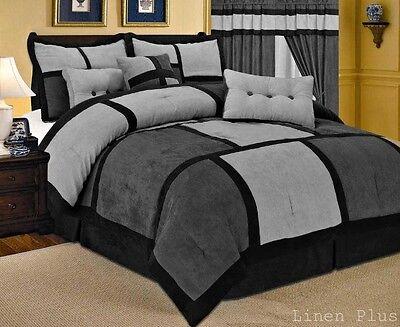 Gray Black Micro Suede Comforter Set King Size New Linen Plus 7 Piece (Black Microsuede Comforter Set)