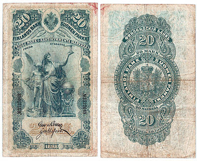 Rare Finlands Bank 1898 20 Markkaa; Original Fine