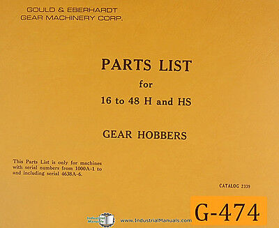 Gould Eberhardt 16-48 Hobbing Machine Parts Manual