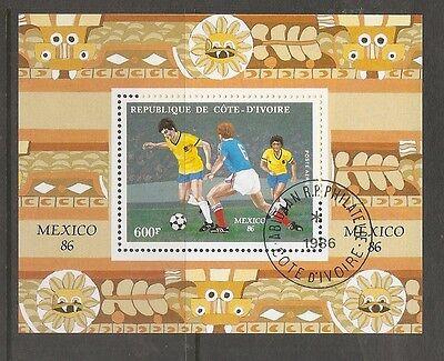 Ivory Coast SC # C109 World Cup , Mexico 1986 . CTO. MNH