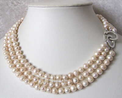 3 Row 7-8mm White Freshwater Cultured Pearl Necklace 16-18