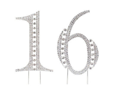 Sweet Sixteen 16 Silver Rhinestone Crystal Birthday Party Cake Topper Number - Sweet Sixteen Cake Toppers