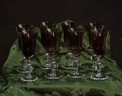 Rare Set of 8 Steuben Crystal Brown & Clear Wine Stems Pontil Antique Vintage