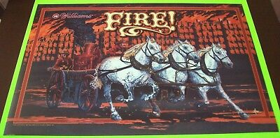 FIRE Pinball Machine Translite Backglass Art 1987 Original NOS Arcade WILLIAMS