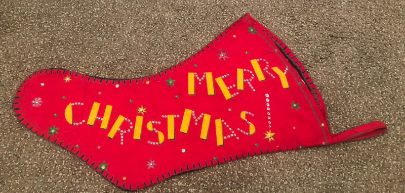 Vintage 1950s Felt Flannel MERRY CHRISTMAS STOCKING Christmas trees star candles