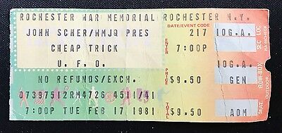 """CHEAP TRICK TICKET STUB - """"DREAM POLICE"""" TOUR with UFO -ROCHESTER, NY 2/17/81"""