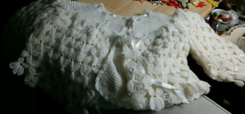 Vintage IVORY KNIT BABY SWEATER W/ MATCHING BONNET 100% Wool made in Spain