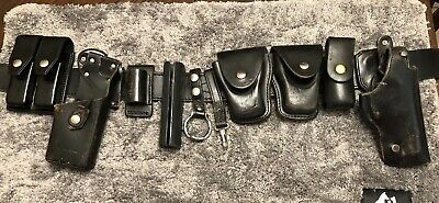 Black Leather Police Duty Belt Blockers Sp100 Holster Radio Caddy 36 Authentic