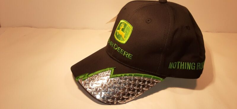 New! John Deere  Black Diamond Plate Baseball Cap Hat w/ tag