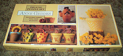 Anne Geddes Deluxe Puzzle Set #3601-3 Babies Flowers Flower Pots New In Box -