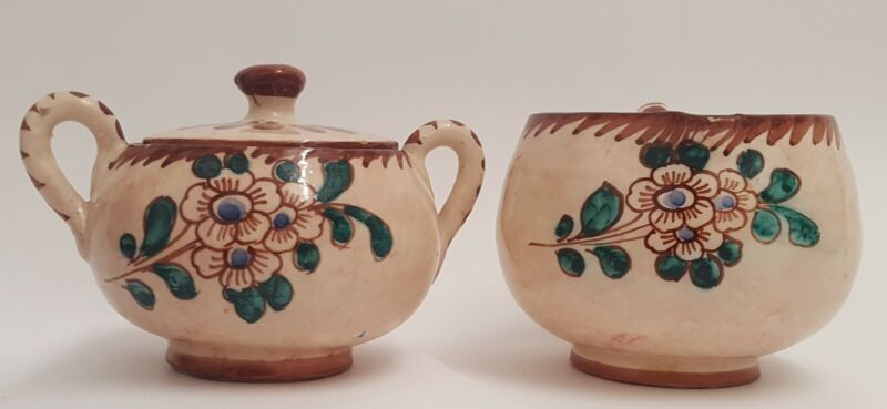 Vintage Terracota Lidded Sugar Bowl & Creamer Hand Painted Made in Italy Signed