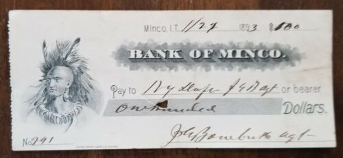 1893 Minco Indian Territory Bank Check Generic Check with Indian Graphic