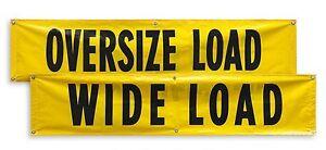 2 WIDE LOAD OVERSIZE LOAD Sign Banner 18x84 Reversible Signs Truck Trailer Van