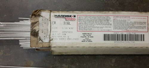 """ER 316L Stainless Steel Tig Welding Rod Wire 1/16"""" 10Lb Box 36"""" Long Welco 10#"""