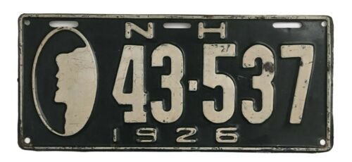 New Hampshire 1926 Old Man License Plate, Nice Original, Antique, Garage Sign