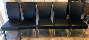 Five Bonded Leather Dining Room Chairs Like New Set