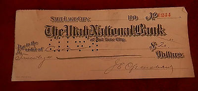1908 Salt Lake City Utah National Bank  Check No  1244