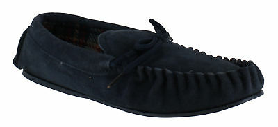 Lodgemok Mens Suede Tartan Lined Moccasins Slippers UK 12 EU 46 NH085 KK 08