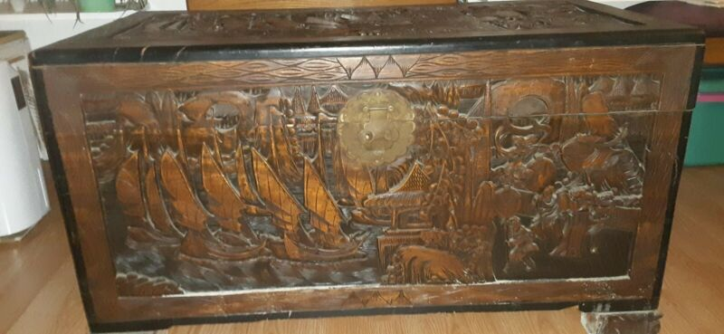 Vintage Wood Carved Chest Trunk Blanket Storage