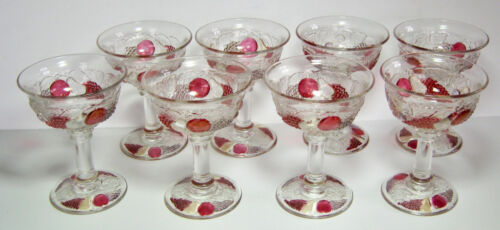Westmoreland Della Robia Champagne or Sherbet Glasses 8 Colored Fruits Vintage