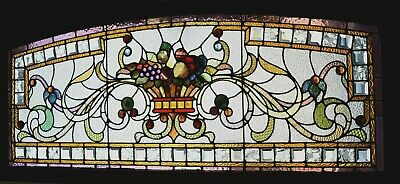 Fruit Bowl Stained Glass Window - Victorian Stained & Beveled Glass Fruit Bowl Transom Window 64